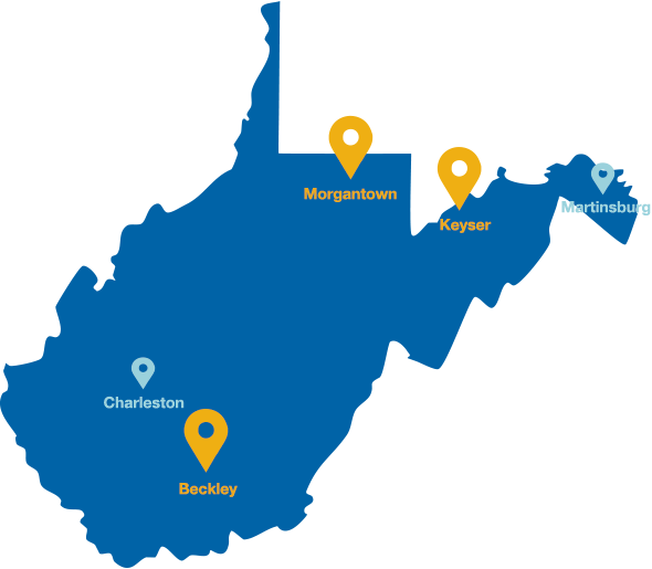Map showing locations of WVU System